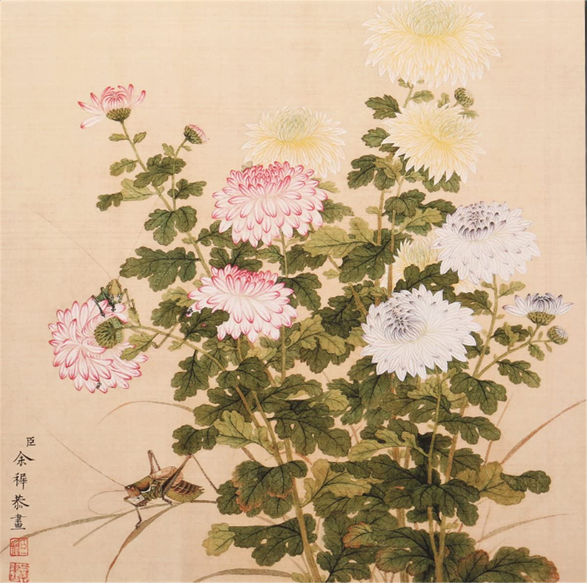 INKWASH Nature Flower Art Chinese Painting Wall Decor Yellow White Chrysanthemum Flower Paintings for Modern Home Living Room Bedroom Wall Without Framed 19