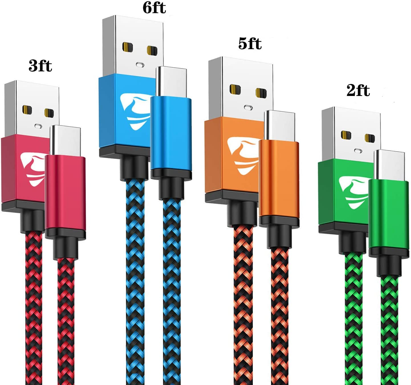 USB Type C Cable 3A Fast Charging USB C Charger 4Pack [2+3+5+6FT] Nylon Type C Phone Charger Fast Charging Cord for Samsung Galaxy S10/S9/S8/Note 9/8/A20/A20e/A10e/A50/A51/S20/S10e,LG Stylo 4/5,Moto Z
