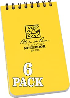 """product image for Rite in the Rain Weatherproof Top Spiral Notebook, 3"""" x 5"""", Yellow Cover, Universal Pattern, 6 Pack (No. 135L6)"""