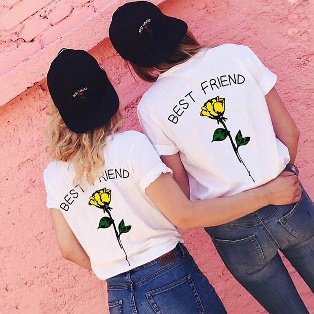 LONGDAY Womens Casual Round Neck Rose Floral Print Short Sleeve Summer Tee T-Shirt Best Friend Letter Print