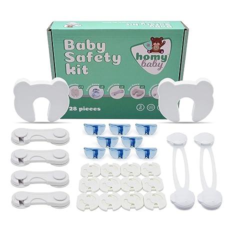 Homybaby, Kit seguridad bebe protección infantil - 28 piezas | Set seguridad niños con 12 tapa enchufes, 8 protector esquinas, 4 cierres seguridad ...