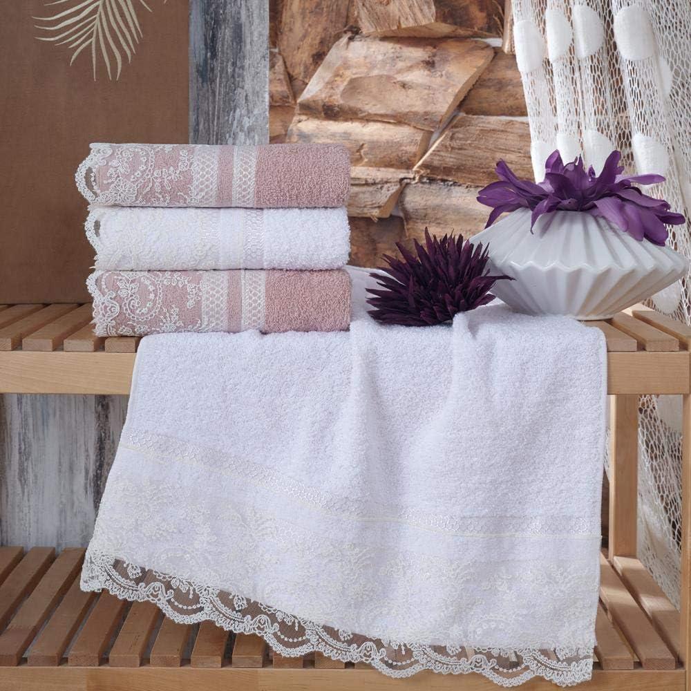Crema NEK Asciugamano Turco Asciugamano Pizzo Asciugamano da Sposa Asciugamano Viso Set 4 Pezzi 50x90 cm Set Asciugamani turchi Ricamati in Cotone Turco 50x90cm