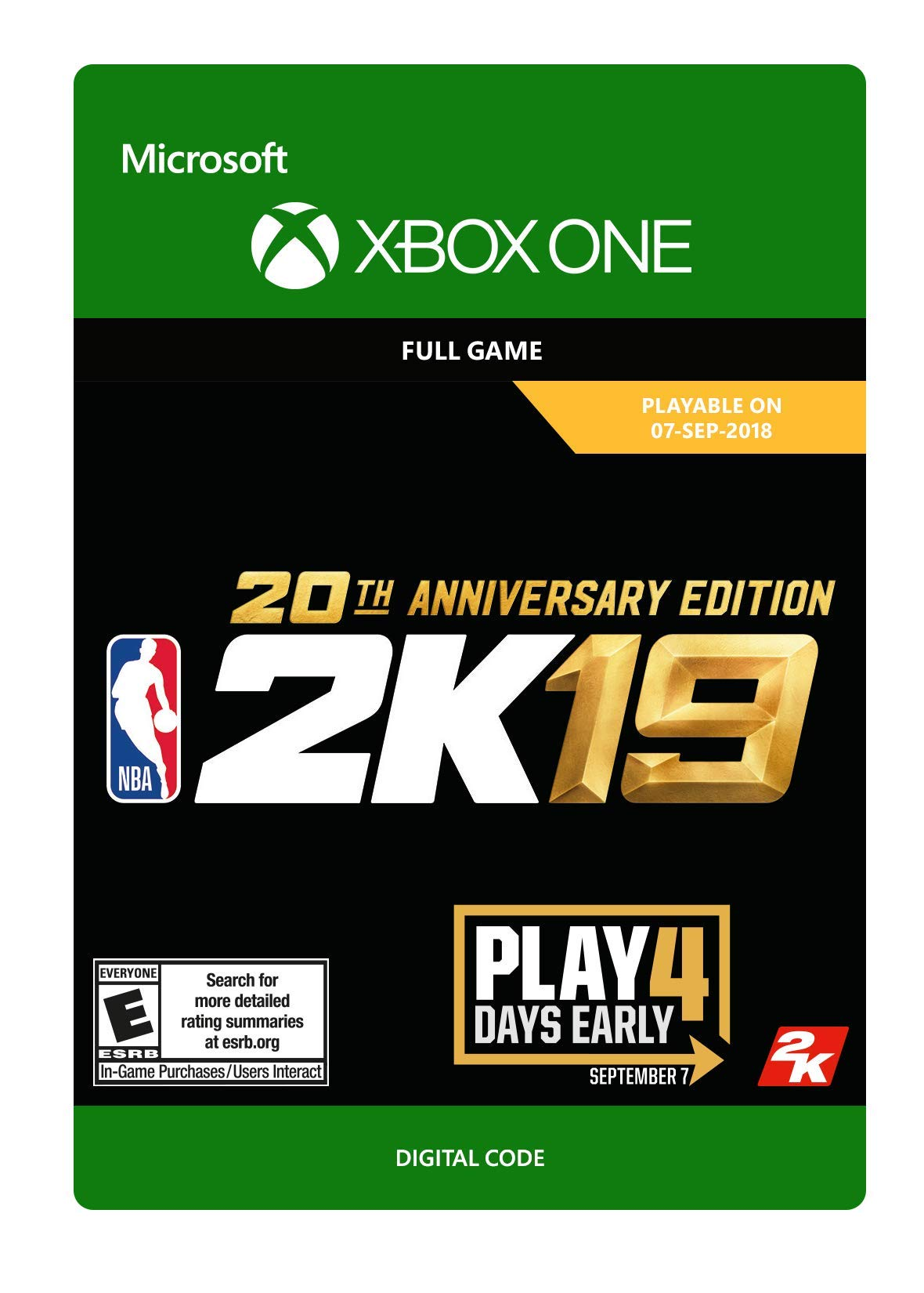 NBA 2K19: 20th Anniversary Edition - Xbox One [Digital Code] by 2K Games (Image #1)