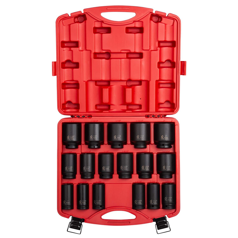 Sunex 4685, 3/4 Inch Drive Deep Impact Socket Set, 17-Piece, SAE, 1''-2'', Cr-Mo Steel, Radius Corner Design, Dual Size Markings, Heavy Duty Storage Case