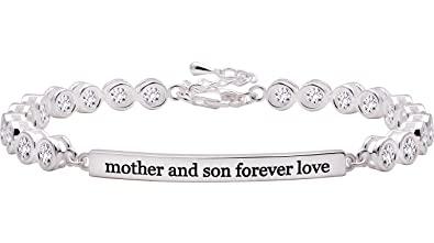 ALOV Jewelry Sterling Silver mother and son forever love Cubic Zirconia Bracelet TUEv72