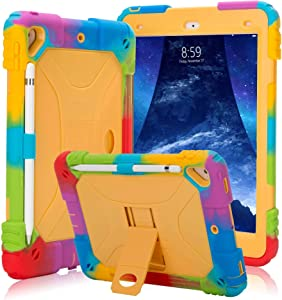 iPad Case 9.7 inch for 2017 iPad 5th Generation Case /2018 iPad 6th Generation Case/iPad Air 2 Case /2016 iPad Pro Case, Heavy Duty Shockproof Silicone Protect Case (Rainbow Yellow-X)