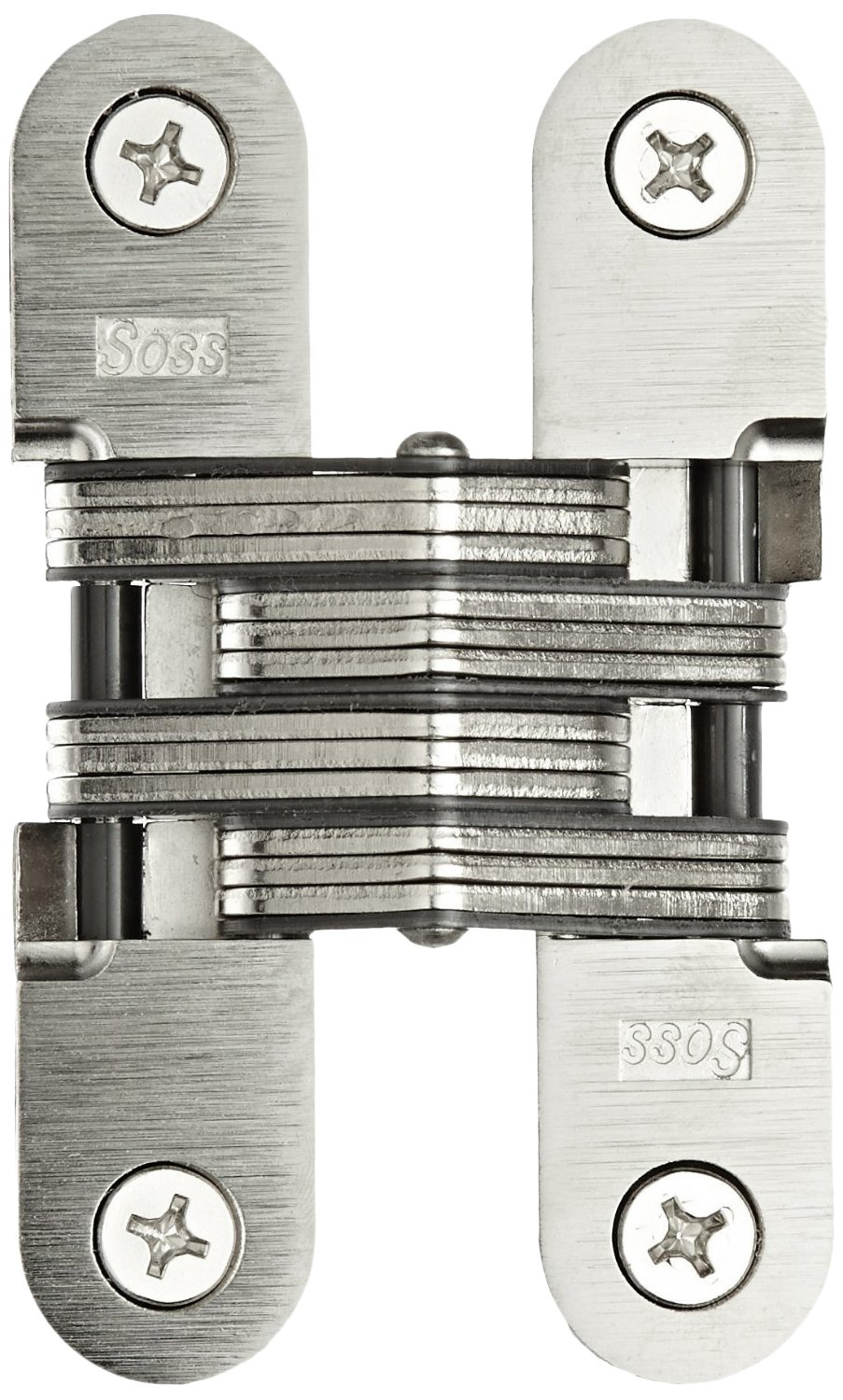 SOSS Mortise Mount Invisible Hinge with 4 Holes, Zinc, Satin Chrome Finish, 4-5/8'' Leaf Height, 1'' Leaf Width, 1-7/16'' Leaf Thickness, 14 x 1-1/2'' Screw Size