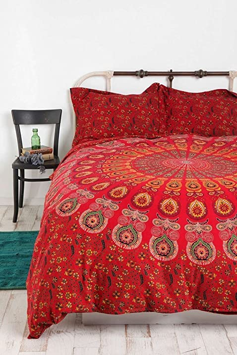 Amazon.com: Indian Mandala Duvet Cover Queen size Blanket Quilt ... : quilted bed cover - Adamdwight.com
