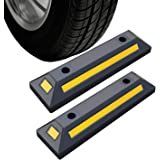 2 Pack Rubber Parking Guide Blocks Heavy Duty Wheel Stop Stoppers for Car Garage Parks Professional Grade Parking Rubber Curb