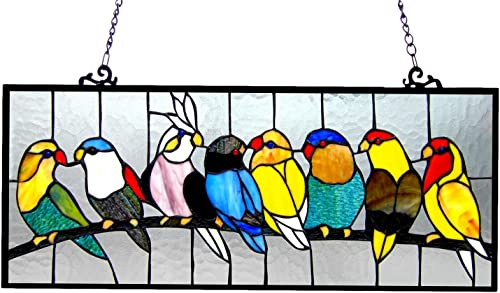 Chloe Lighting Tiffany-Glass Featuring Birds Window Panel 25.5×10.5