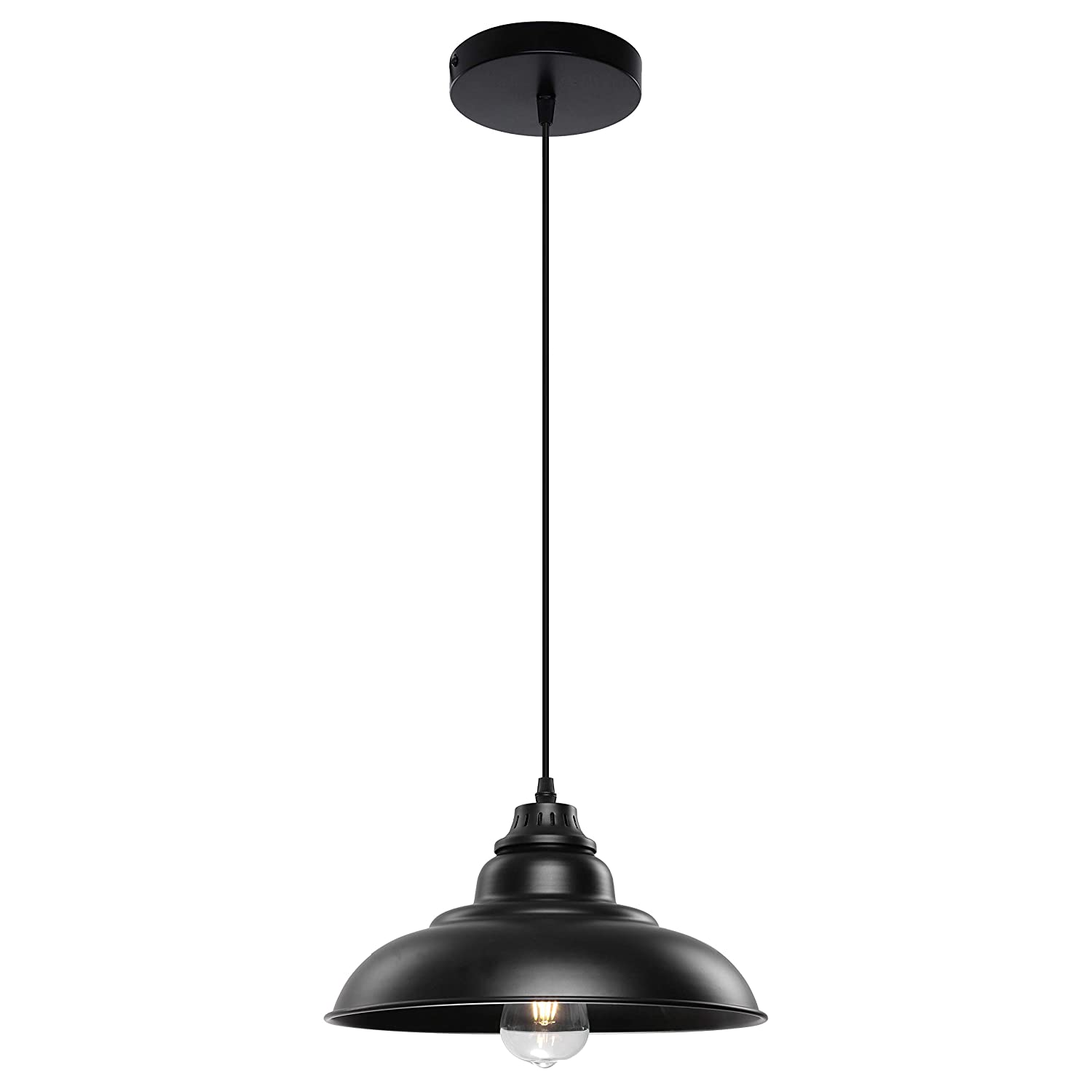 Pendant Lighting, Lika Industrial Black Hanging Pendant with Metal Shade, Lighting fixtures Ceiling for Dining Room, Kitchen Island, Barn