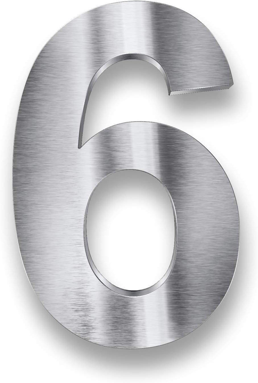 argent 6 Tous les chiffres et lettres Acier inoxydable V2A argent/é Num/éros de maison en 3D R/ésistant aux intemp/éries 20 cm