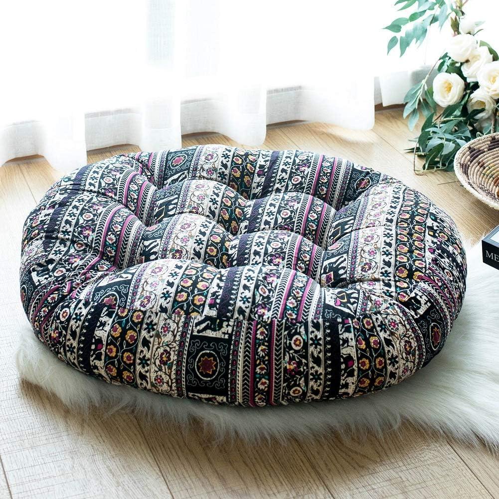 FAMIFIRST Cotton Linen Round Solid Floor Cushion Meditation Yoga Read Seating Cushion Boho Tufted Tatami Floor Pillow for Home Sofa Bed Office Car Decor, 23 Inch Diametre, Mandala Flower