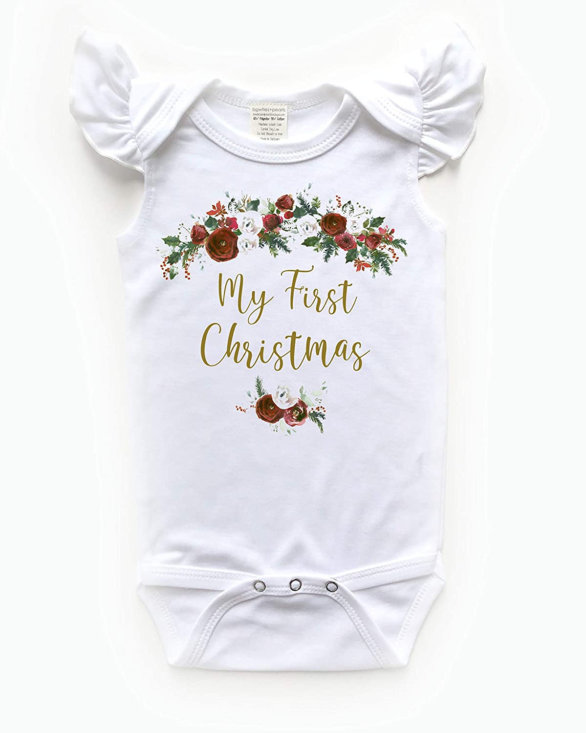 My First Christmas Baby Girl Bodysuit Ouffit 3-6 months