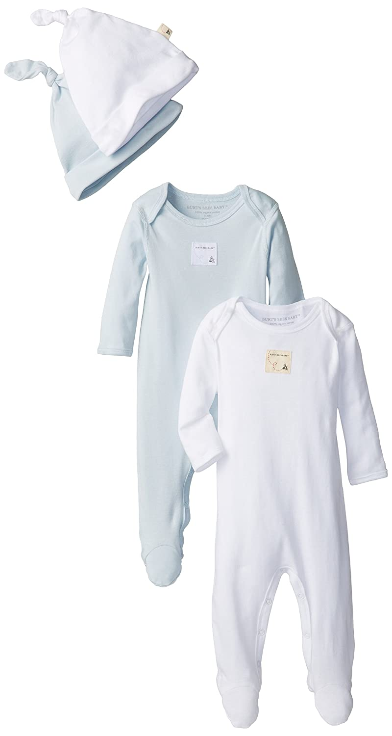 Burt's Bees Baby Organic Set of 2 Footed Coveralls and 2 Caps