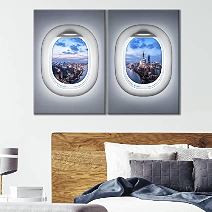 Stupendous Wall26 2 Panel Canvas Wall Art Grey Plane Window Seat Tall City Skyscraper Sunset View Giclee Print Gallery Wrap Modern Home Decor Ready To Hang Beatyapartments Chair Design Images Beatyapartmentscom