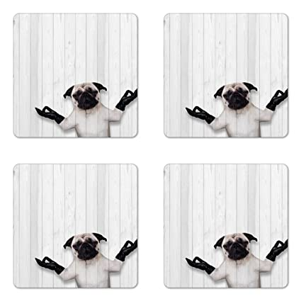 Amazon com: Ambesonne Animal Coaster Set of Four, Meditating