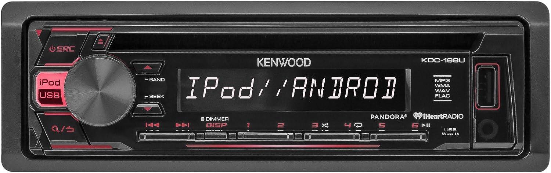 2X 6.5-6.75 4-Way Stereo Speaker 4-Channel Amplifier Kenwood KDC168U Car Radio USB AUX CD Player Receiver Amp Kit Bundle with 2X TSA1676R 6.5 3-Way Car Audio Speakers