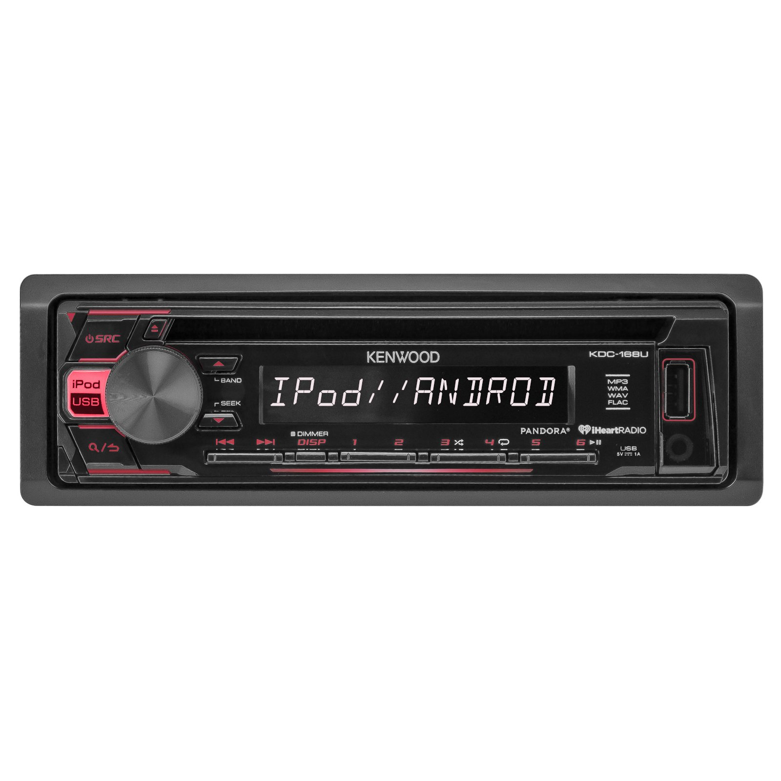 Kenewood KDC168U Car Radio USB AUX CD Player Receiver - Bundle With 2x TSA1676R 6.5'' 3-Way Car Audio Speakers - 2x 6.5''-6.75'' 4-Way Stereo Speaker + Enrock 50Ft 18 Gauge Speaker Wire by EnrockAutomotiveBundle (Image #2)