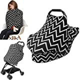 Nursing Cover Breastfeeding Cover carseat Canopy, AiKiddo Shopping Cart Stroller High Chair Covers, Multi-Use Infinity Shawl Fashion Scarf for Moms Infants Girls and Boys (Black)