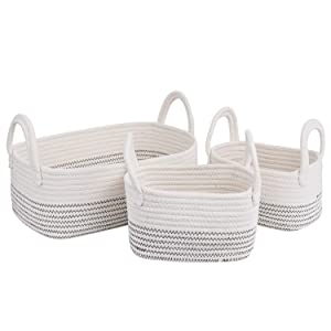 Cotton Rope Storage Baskets Storage Bins Organizer Decorative Woven Basket With Handles for Nursery Baby Clothes, Toy, Makeup, Books, Set of 3