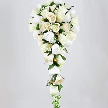 Artificial Wedding Bouquets.Artificial Wedding Flowers Hand Made By Petals Polly Brides Bouquet Cream Ivory White Gold