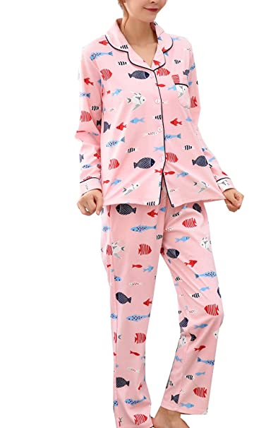 f9ebd1ba37 Image Unavailable. Image not available for. Color  Young Girls Cute Fish Printed  Pajama ...