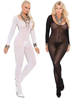 0df701c3a Womens Bodystocking Set- Sexy Long Sleeved Sheer Crotchless Bodysuit  Lingerie Pack of 2