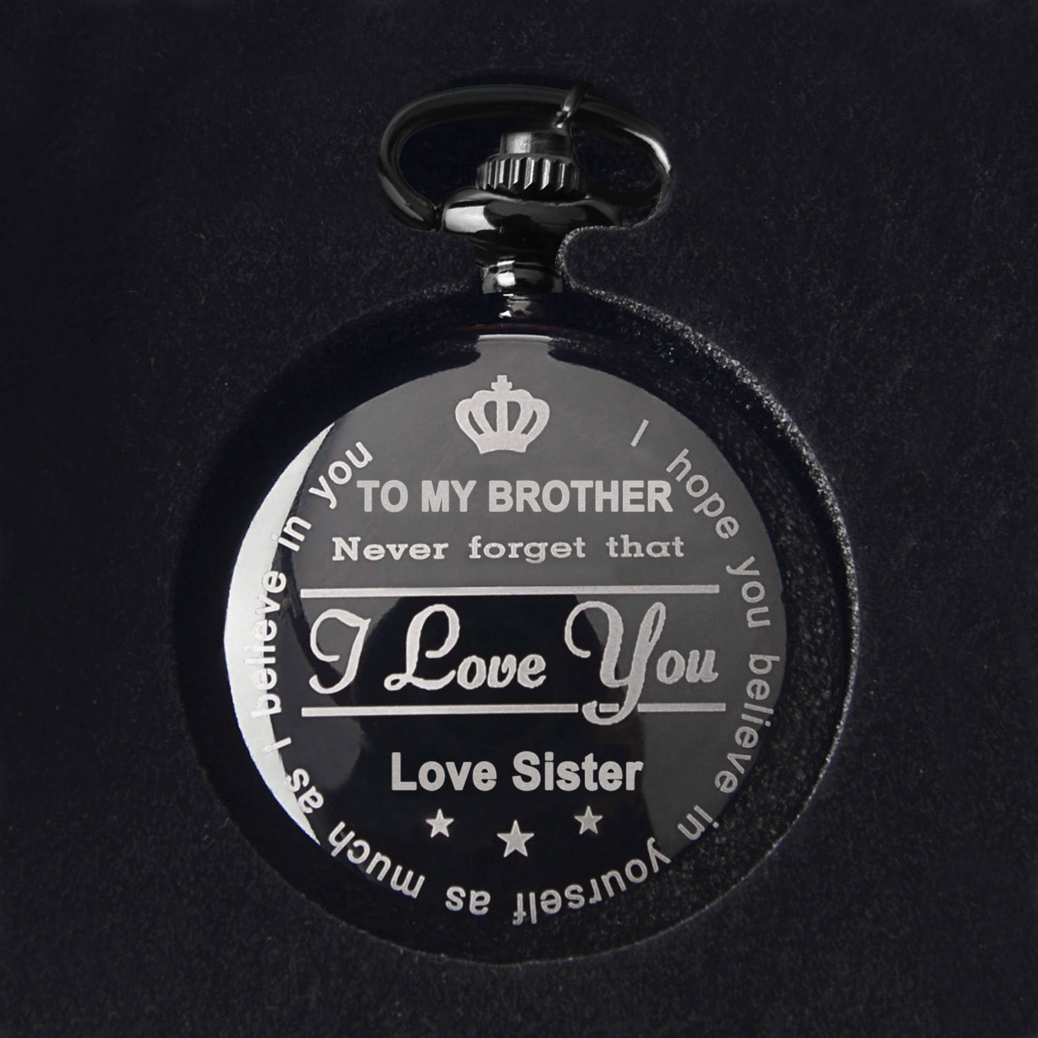 Brother Gifts for Birthday or Anniversaries Graduation Novelty Gift to Big Brother from Brother or Sister Engraved Pocket Watch with Gift Box for Men (Love Sister Black) by Samuel (Image #5)