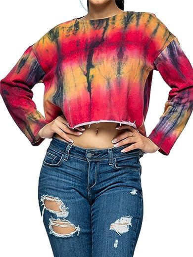 Women's Cropped High Low Cutoff Raw Hem Scoop Neck French Terry Sweatshirt Top