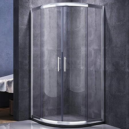 Cabina de ducha redonda ducha 90 x 90 eckeinstieg Mampara de puerta corredera de ducha Cuadrante para cuarto de baño: Amazon.es: Hogar