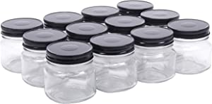 North Mountain Supply 8 Ounce Glass Smooth Square Regular Mouth Mason Canning Jars - With Black Metal Safety Button Lids - Case of 12