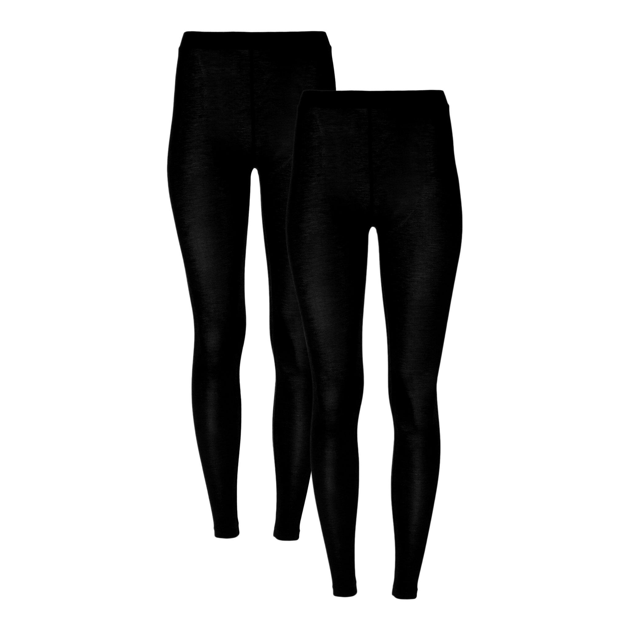 32 DEGREES Women 2 Pack Heat Plus Baselayer Leggings, Black/Black, M