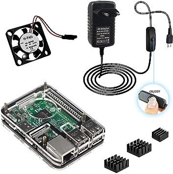 4 en 1 Doble fresco Raspberry Pi 3 Model b Kit ,Caja ,5V 3A adaptador de corriente alimentación Cargador , disipador de calor , ventilador (Negro): Amazon.es: Electrónica