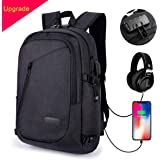 MODAR Laptop Backpack, Anti Theft Travel Backpack, Business Computer Bag, with USB Charging Port + Headphone Port fits 15.6 inch Laptop/Notebook [Built-in Two-Wires] for Boys& Girls