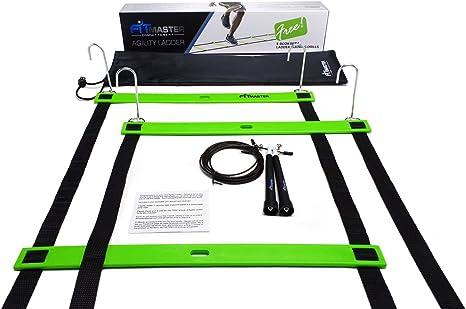 Escalera de agilidad y Cable cuerda coralgraph-velocidad equipo de entrenamiento de ajuste Maestro. Aumentar la velocidad, rapidez y resistencia. Excelente para fútbol, fútbol, Crossfit, calentamientos, Cool-Downs y todos los deportes. Taladros múltiples,