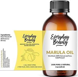 Marula Oil - Pure Virgin Unrefined Face Oil 4oz - Cold Pressed & All Natural Oil for Skin and Body - DIY Cosmetics