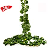 Ivy Silk HoveBeaty artificial plastic fake hanging vine plant leaves garland for wedding party holiday home garden wall decoration (12 PCS) (One Size, Ivy Green)