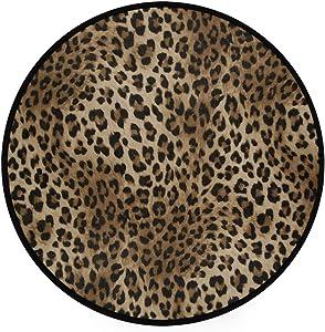 Sexy Leopard Print Doormat Wild Animals Snakeskin Zebra Pattern Round Floor Mat Washable Non-Slip Indoor Outdoor Area Rug for Bedroom Living Room Home Decor 36