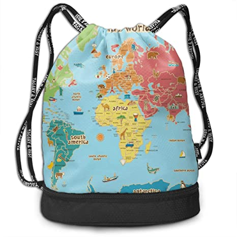 c3fab6f02fa3 Amazon.com  Brady Johnson Kid World Map Waterproof Gym Sackpack ...