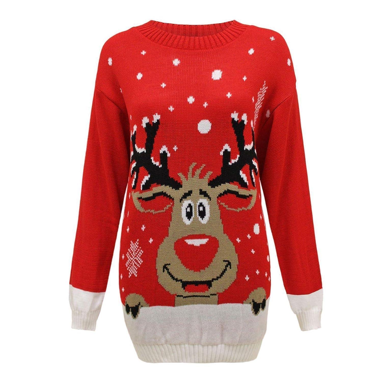 Blush Avenue Donna Uomo a Maglia Renna Rudolph Natale Unisex Natale novità Maglione UK lavorato a maglia Reindeer Red M/L (44-46)