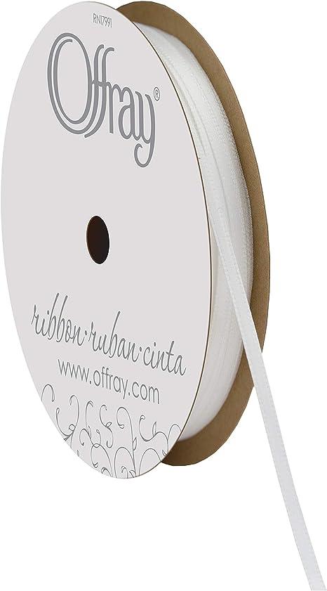 "1017 7//8-28 Offray Single Face Satin Ribbon 7//8/""X18/'-Antique White"