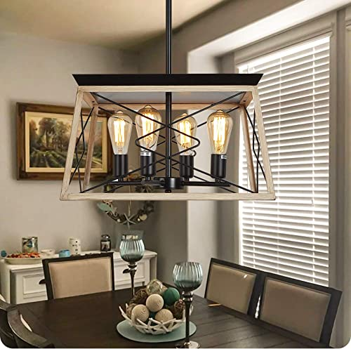 Farmhouse Chandeliers Farmhouse Light Fixture,for Dining Table,Oak Wood Grain Rustic Style