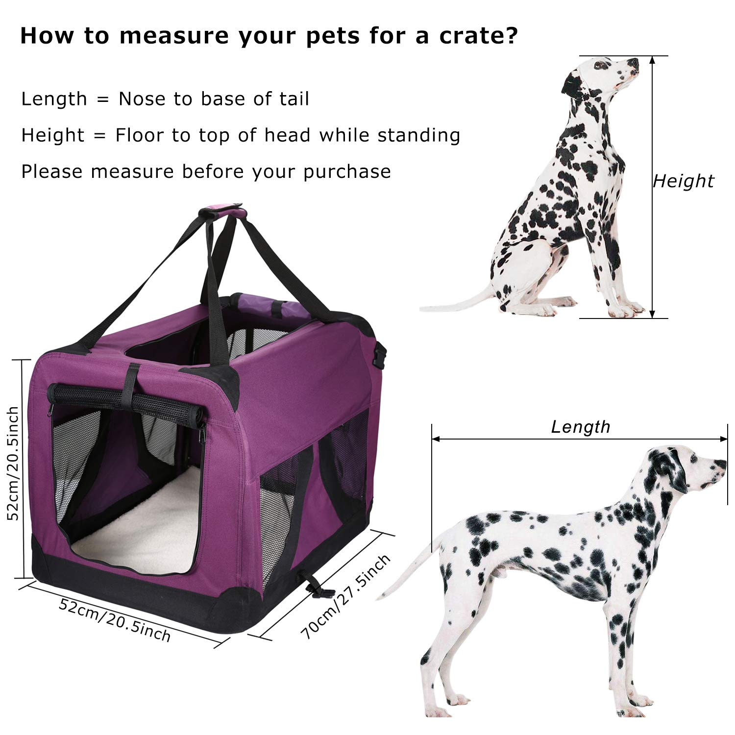 Pettom Dog Crate Soft Sided Kennel 27 x 20 x 20in for Pet Indoor Home Outdoor Use 2 Door Folding Collapsible Travel Carrier Padded Fleece Bedding for Medium Large Dogs