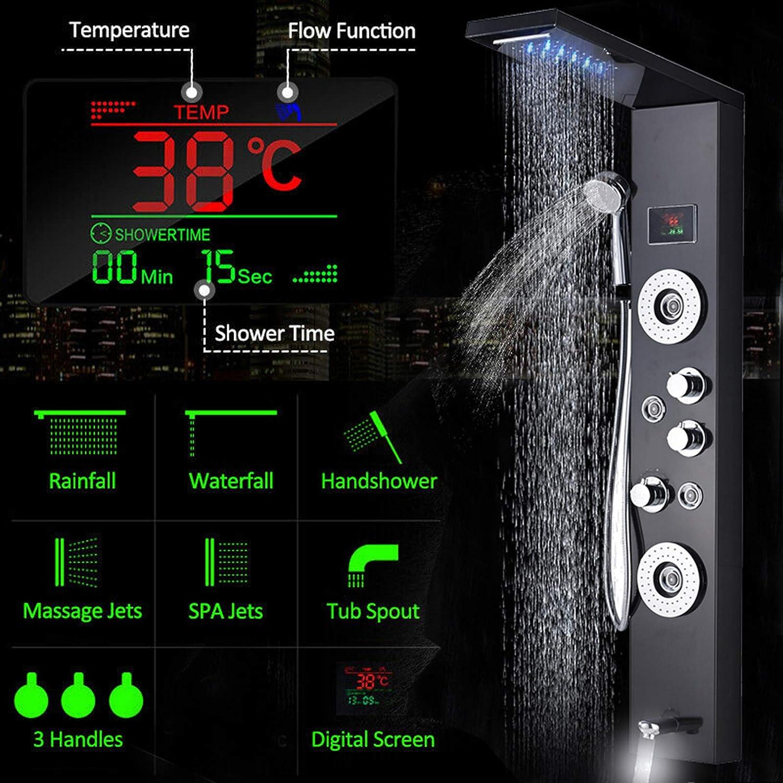 JUNSHENG LED Panel de Ducha de Acero Inoxidable Columna con Pantalla LCD para Ba/ño de Hidromasaje Ducha Moderna 5 Funci/ón Cascada Ducha Sistema de Torre de Panel de Ducha de Negro