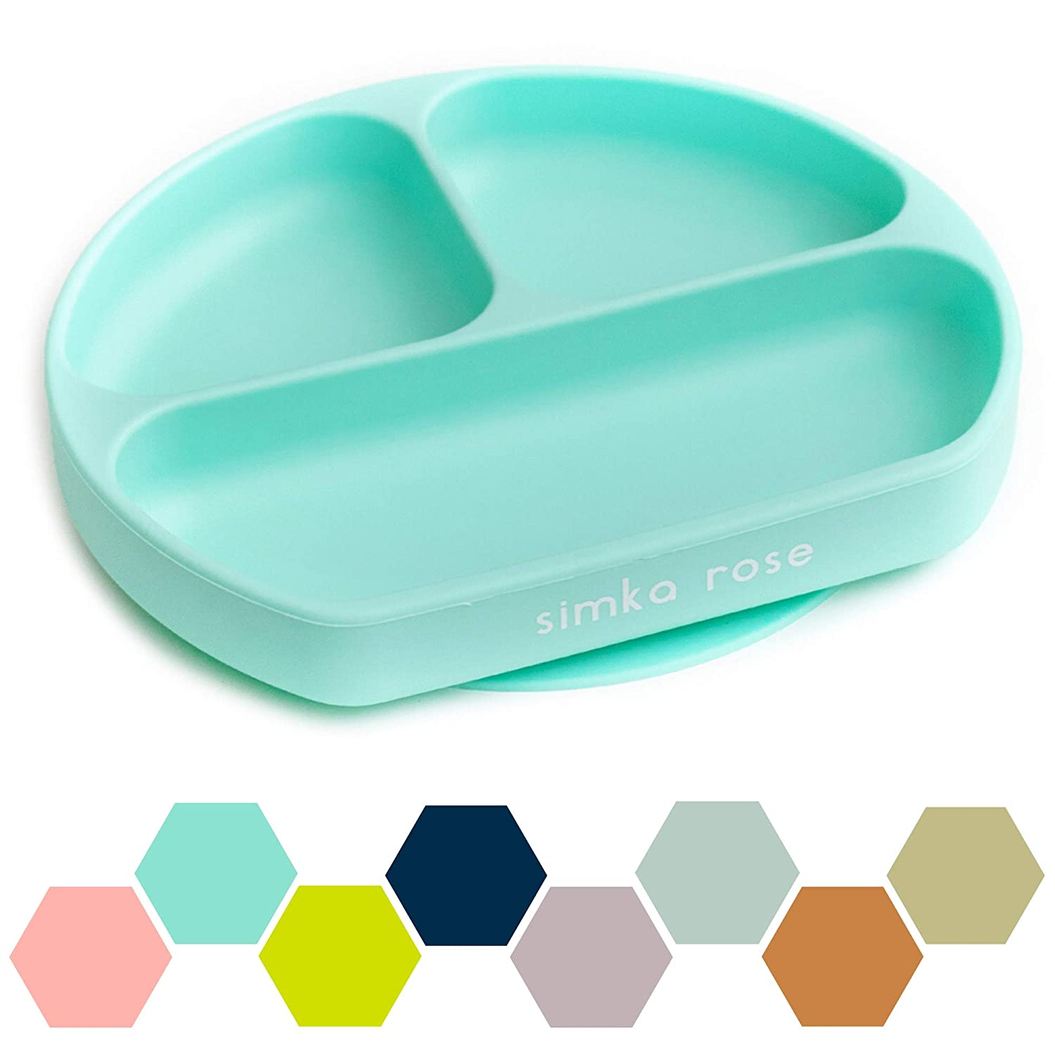 Suction Plate for Baby and Toddler - Divided Silicone Plate - BPA Free - Dishwasher and Microwave Safe - Cute Baby Shower Gift (Mint)