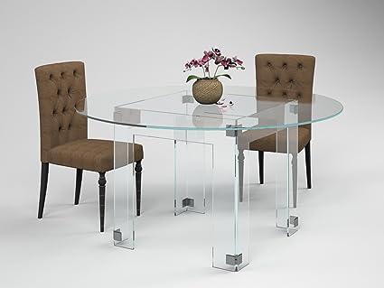 amazon com round glass dining table diamond by fancy glass