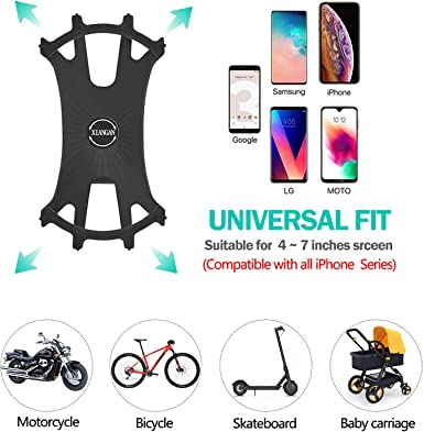 Universal Bicycle /& Motorcycle Handlebar Mount Compatible with iPhone 11//X//XR//8//7//6 Series and Android Phones XIANGAN Detachable 360/° Rotation Silicone Phone Holder for Bike Bike Phone Mount