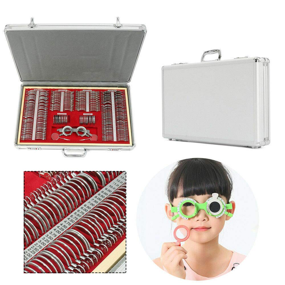 266 Pcs Optical Trial Lens Set Metal Rim Wood Frame Optometry Box Case Kit Heavy Duty Eye Protection Accessories Set