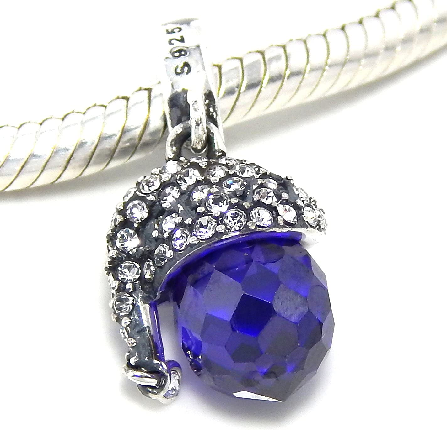 Solid 925 Sterling Silver Dangling Large Purple Crystal Wearing Clear Crystal Hat Charm Bead for European Snake Chain Bracelets